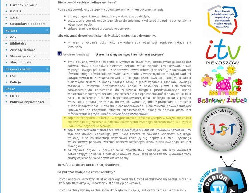 Fragmenty strony internetowej UG Piekoszów