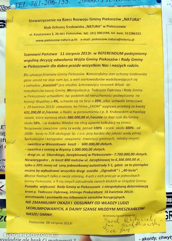 """Plakat Stowarzyszenia """"Natura"""" zachęcający do udziału w referendum"""