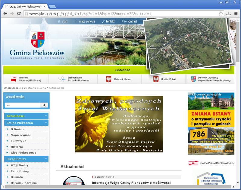 Tak wygląda strona internetowa urzędu gminy w Piekoszowie 2 dni po świętach