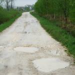 Dziurawa droga Piekoszow pod lasem