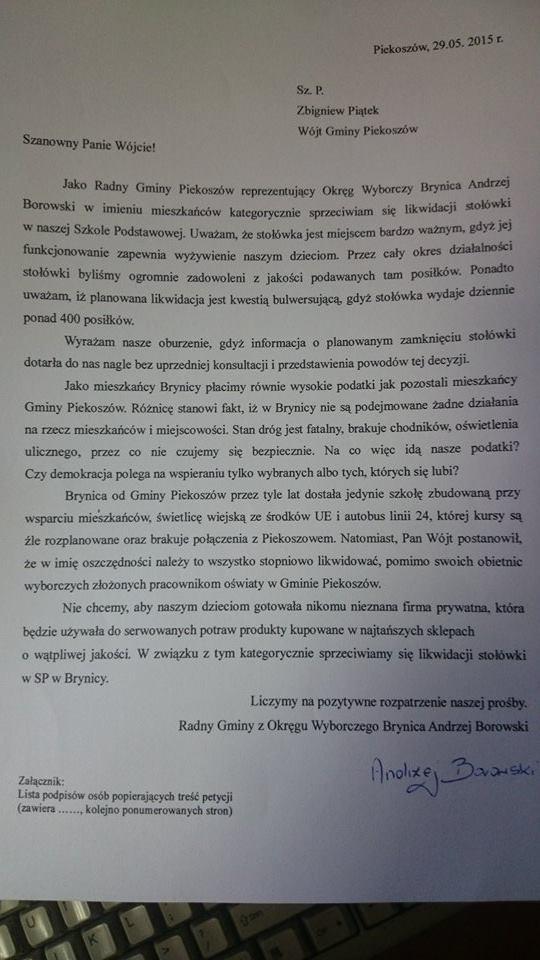 2015-06-10 petycja w sprawie likwidacji szkolnej kuchni w Brynicy