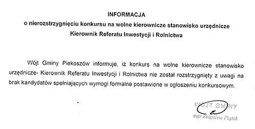 wynik naboru na stanowisko kierownika refereatu inwestycji i rolnictwa